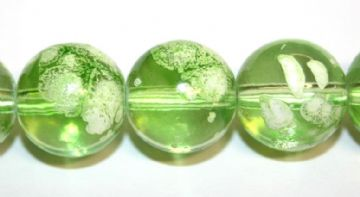 35pieces x 12mm Lime green colour bubble gum glass beads / speckled glass beads -- 3005122